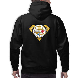 Steelers Superman Men's Long Sleeve Hooded Football Team Pullover Hoodies-Heroinhere