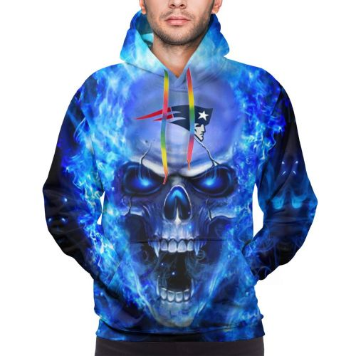 3D Skull Patriots Football Team Hoodies For Men Pullover Sweatshirt-Heroinhere