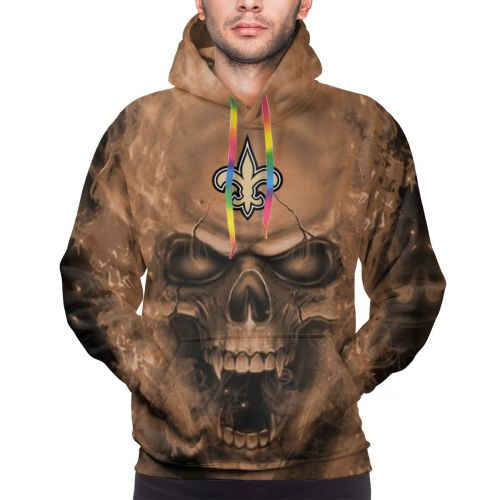 3D Skull Saints Football Team Hoodies For Men Pullover Sweatshirt-Heroinhere