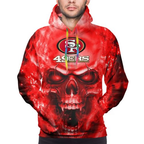 3D Skull 49ers Hoodies For Men Pullover Sweatshirt-Heroinhere