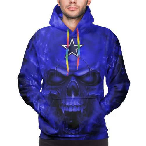 3D Skull Cowboys Pullover Hoodies For Men-Heroinhere