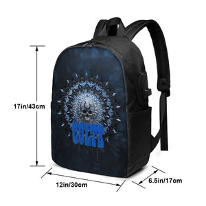 3D Skull American Football Team Colts Travel Laptop Backpack USB Backpack 17 IN-Heroinhere