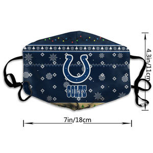 Colts Team Christmas Ugly Anti-infective Polyester Face Mask-Heroinhere