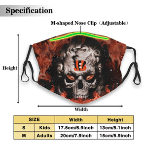 3D Skull Bengals Anti-infective Polyester Face Mask With Filter-Heroinhere