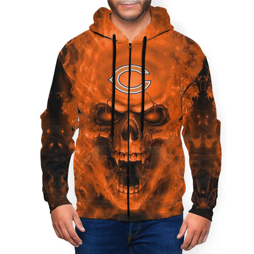 3D Skull Bears Men's Zip Hooded Sweatshirt-Heroinhere