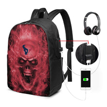 Load image into Gallery viewer, 3D Skull Texans Travel Laptop Backpack USB Backpack 17 IN-Heroinhere