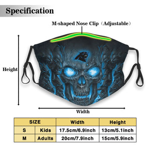 Panthers Skull Lava Anti-infective Polyester Face Mask With Filter-Heroinhere