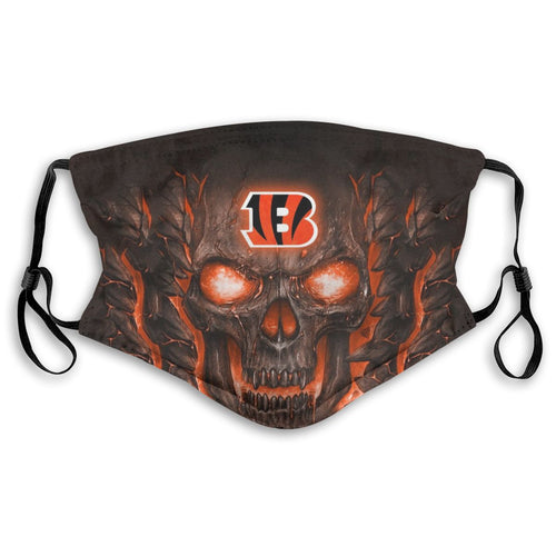 Bengals Skull Lava Anti-infective Polyester Face Mask With Filter-Heroinhere