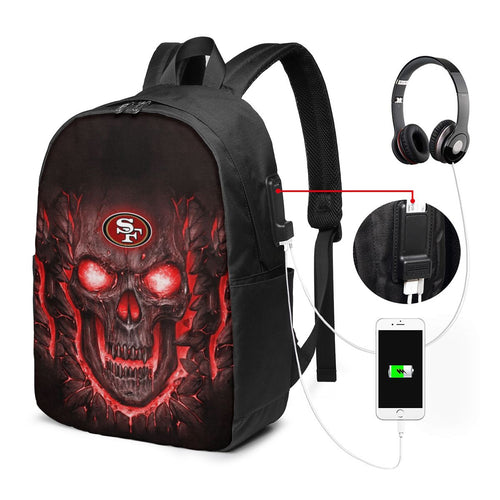49ers Skull Lava Travel Laptop Backpack USB Backpack 17 IN-Heroinhere