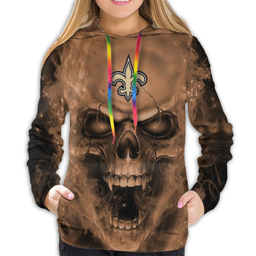 3D Skull Saints Hoodies For Women Pullover Sweatshirt-Heroinhere