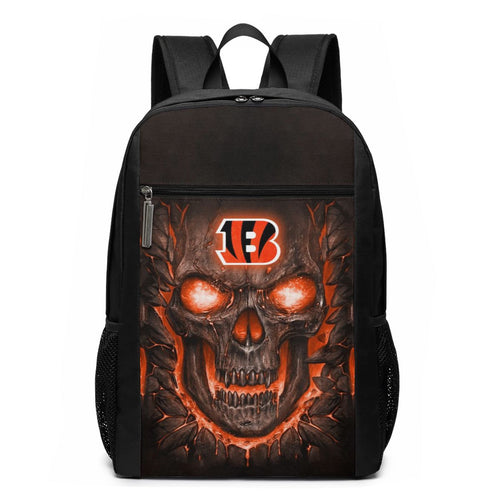 Bengals Skull Lava Travel Laptop Backpack 17 IN-Heroinhere
