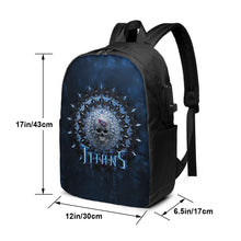Load image into Gallery viewer, 3D Skull American Football Team Titans Travel Laptop Backpack USB Backpack 17 IN-Heroinhere
