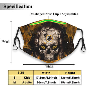 3D Skull Redskins Anti-infective Polyester Face Mask With Filter-Heroinhere