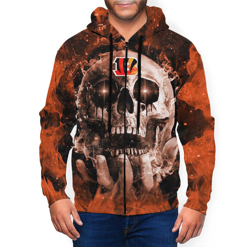 QIANOU66 3D Skull Bengals Men's Zip Hooded Sweatshirt-Heroinhere