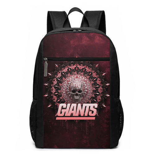 3D Skull American Football Team Giants Travel Laptop Backpack 17 IN-Heroinhere