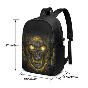 Chargers Skull Lava Travel Laptop Backpack USB Backpack 17 IN-Heroinhere