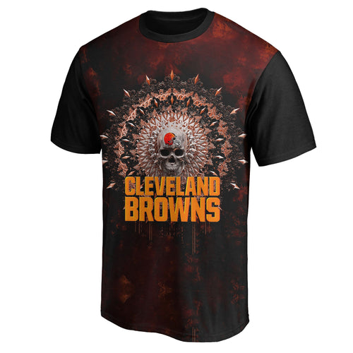 Browns 3D Skull T-Shirts-Heroinhere