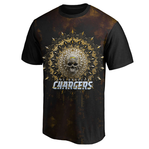 Chargers 3D Skull T-Shirts-Heroinhere