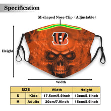 Load image into Gallery viewer, 3D Skull Bengals Anti-infective Polyester Face Mask With Filter-Heroinhere