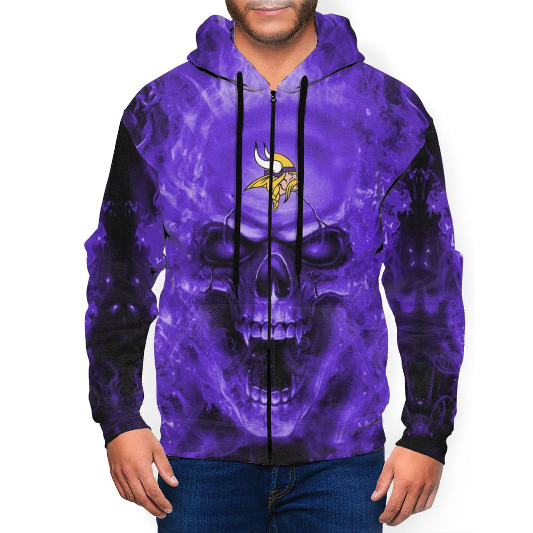 3D Skull Vikings Men's Zip Hooded Sweatshirt-Heroinhere