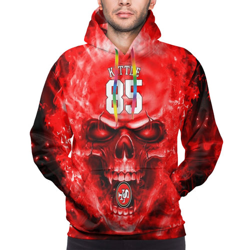 3D Skull 49ers #85 George Kittle Hoodies For Men Pullover Sweatshirt-Heroinhere