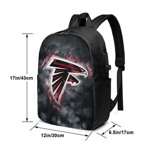 Falcons Illustration Art Travel Laptop Backpack USB Backpack 17 IN-Heroinhere
