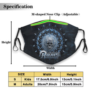 3D Skull American Football Team Rams Anti-infective Polyester Face Mask With Filter-Heroinhere