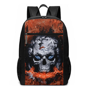 3D Skull Broncos Travel Laptop Backpack 17 IN-Heroinhere