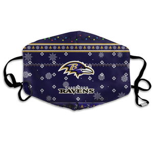 Ravens Team Christmas Ugly Anti-infective Polyester Face Mask-Heroinhere