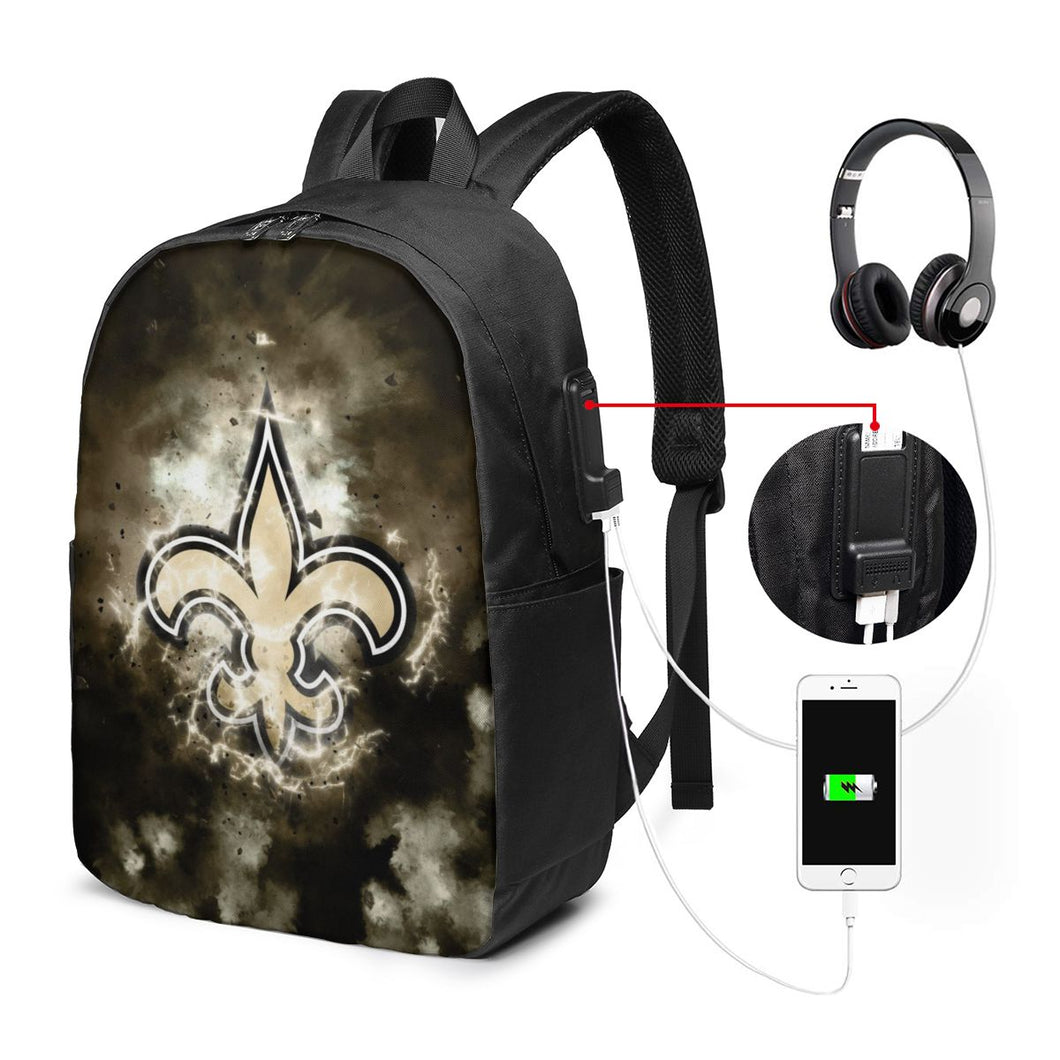 Saints Illustration Art Travel Laptop Backpack USB Backpack 17 IN-Heroinhere