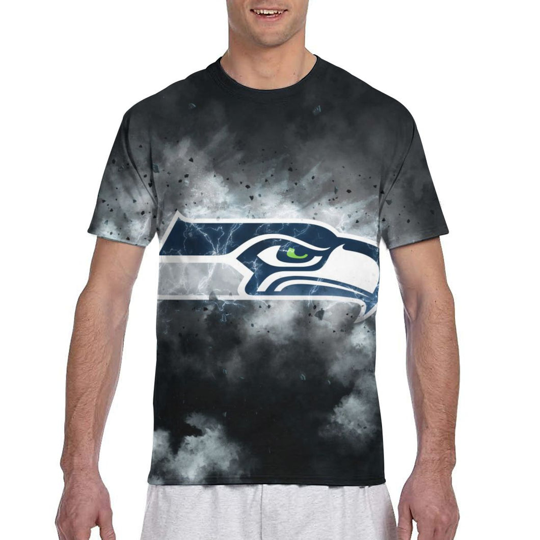 Seahawks Illustration Art T Shirts For Men-Heroinhere