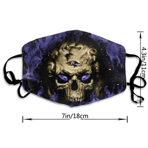 QIANOU66 3D Skull Ravens Anti-infective Polyester Face Mask-Heroinhere