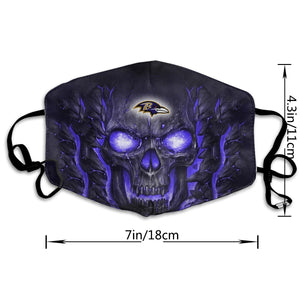 QIANOU66 Skull Lava Ravens Anti-infective Polyester Face Mask-Heroinhere