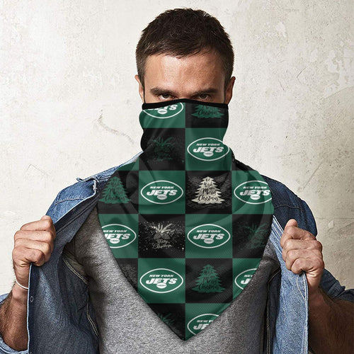 Jets Team Ugly Christmas Obacle Seamless Bandana Rave Face Mask-Heroinhere