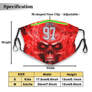 3D Skull 49ers #97 Nick Bosa Anti-infective Polyester Face Mask With Filter-Heroinhere