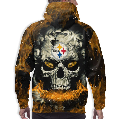 QIANOU66 3D Skull Steelers Hoodies For Men Pullover Sweatshirt-Heroinhere