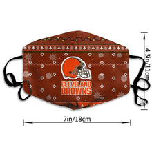 Load image into Gallery viewer, Browns Team Christmas Ugly Anti-infective Polyester Face Mask-Heroinhere