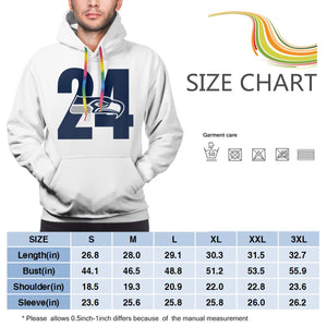 Seahawks Marshawn Lynch # 24 Hoodies For Men Pullover Sweatshirt-Heroinhere