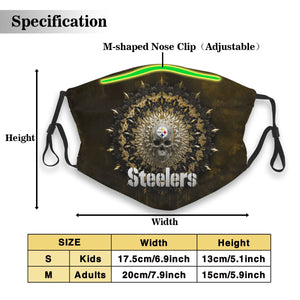 3D Skull American Football Team Steelers Anti-infective Polyester Face Mask With Filter-Heroinhere