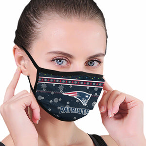 Patriots Team Christmas Ugly Anti-infective Polyester Face Mask-Heroinhere