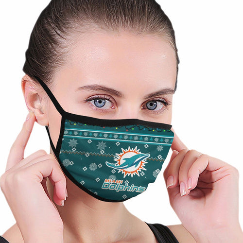 Dolphins Team Christmas Ugly Anti-infective Polyester Face Mask-Heroinhere