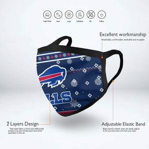Bills Team Christmas Ugly Anti-infective Polyester Face Mask-Heroinhere