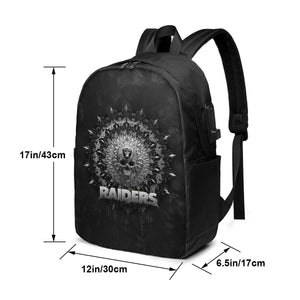 3D Skull American Football Team Raiders Travel Laptop Backpack USB Backpack 17 IN-Heroinhere