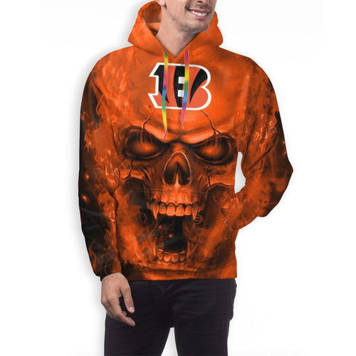 3D Skull Bengals Hoodies For Men Pullover Sweatshirt-Heroinhere