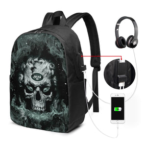3D Skull Jets Travel Laptop Backpack USB Backpack 17 IN-Heroinhere