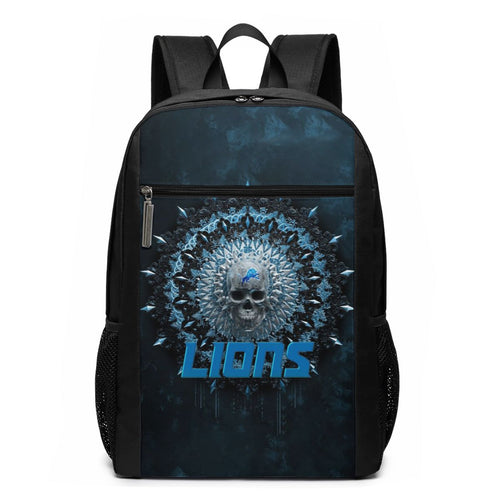 3D Skull American Football Team Lions Travel Laptop Backpack 17 IN-Heroinhere