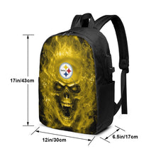 Load image into Gallery viewer, 3D SKull Steelers Travel Laptop Backpack USB Backpack 17 IN-Heroinhere