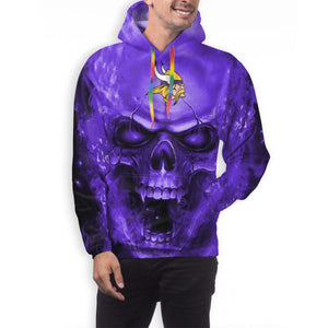 3D Skull Vikings Hoodies For Men Pullover Sweatshirt-Heroinhere