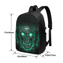 Load image into Gallery viewer, Jets 3D Skull Lava Travel Laptop Backpack USB Backpack 17 IN-Heroinhere