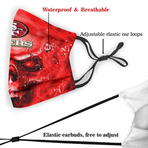 3D Skull 49ers Anti-infective Polyester Face Mask With Filter-Heroinhere